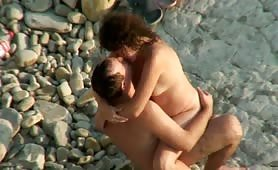 Beach sex with chubby wife